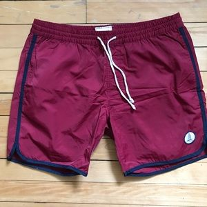 FRANK AND OAK Vintage Swim Trunks in Tuscan Red M